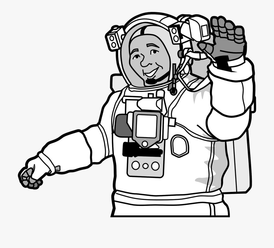 Astronaut Clipart Black And White , Transparent Cartoon.