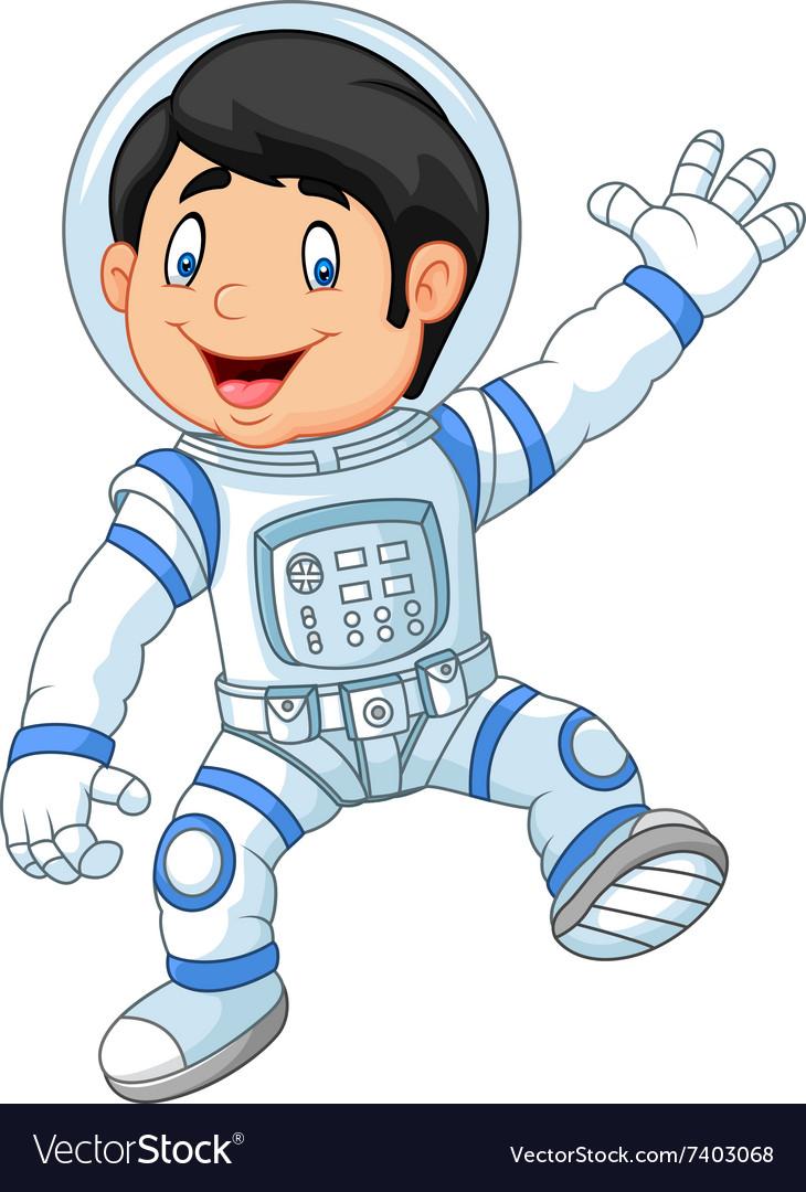 Cartoon little boy wearing astronaut costume.