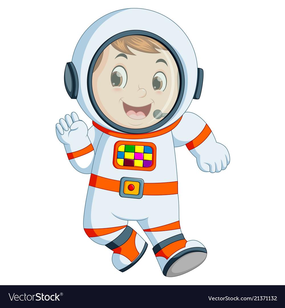 Cartoon boy wearing astronaut costume.