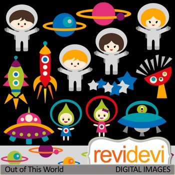 Cute Astronaut Clip art (out of this world) rocket, ufo, space.