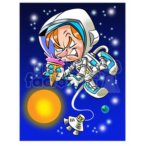 astronaut trying to eat ice cream cone in space clipart. Royalty.