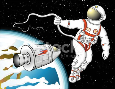 Astronaut floating in space Clipart Image.