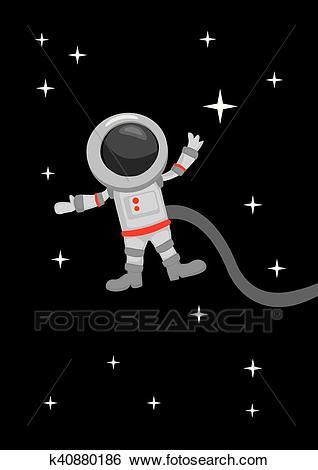 Astronaut Zero Gravity in Outer Space Clip Art.