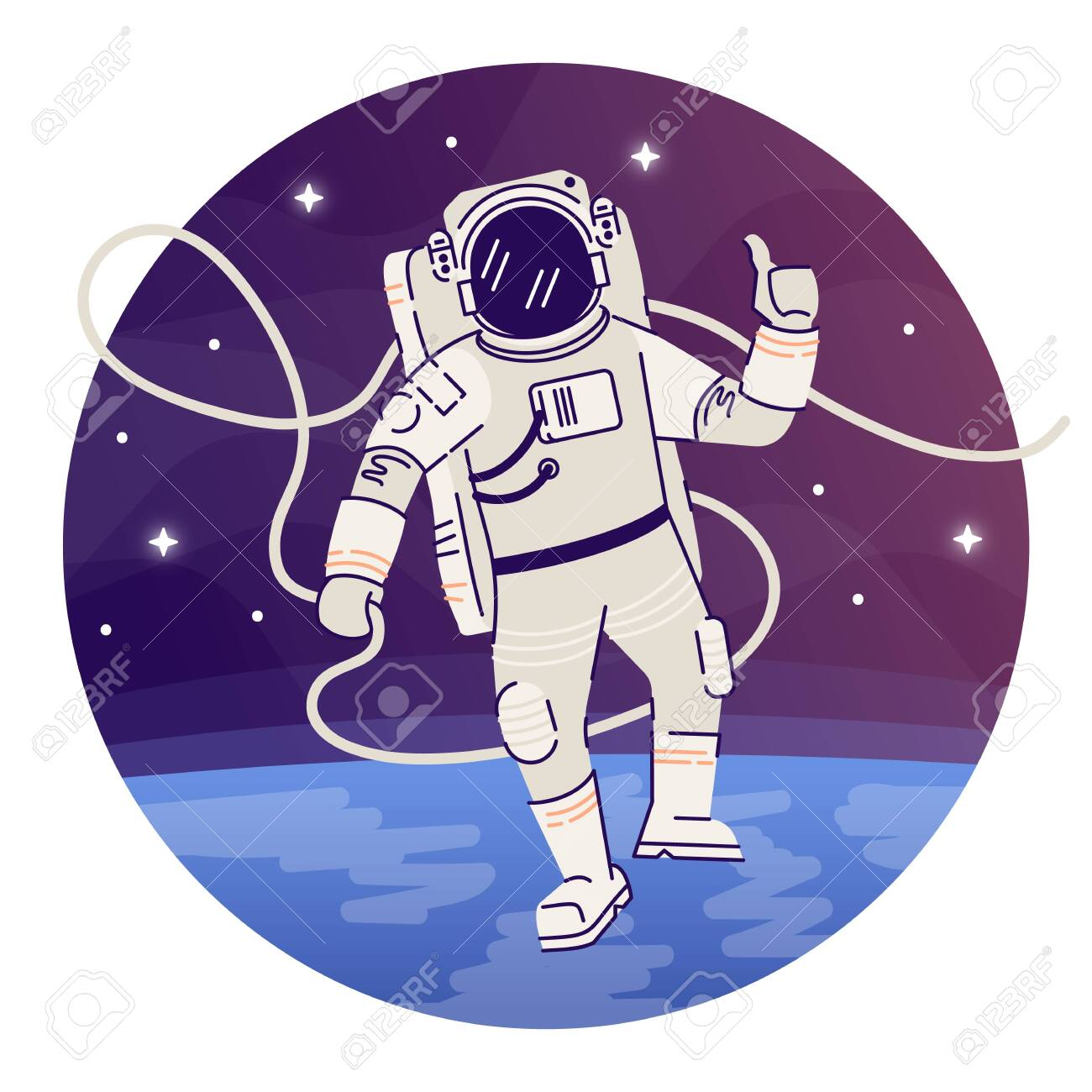 Cosmonaut in outer space flat concept icon. Astronaut in spacesuit...