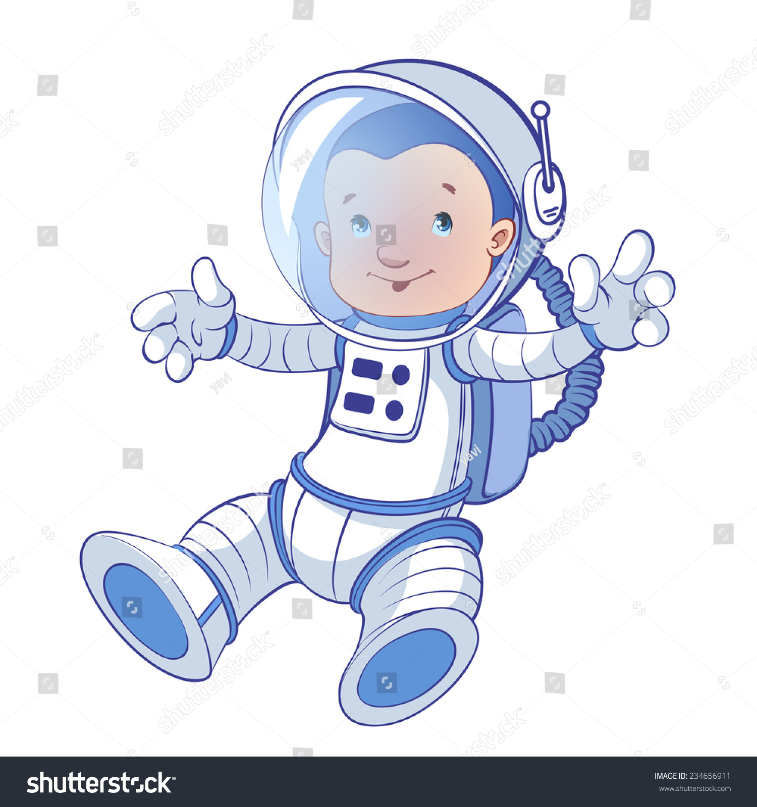 Astronaut Zero Gravity Cartoon Character Vector Stock Vector.