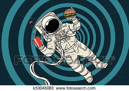 Astronaut in zero gravity with fast food Clipart.