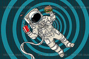 Astronaut in zero gravity with fast food.