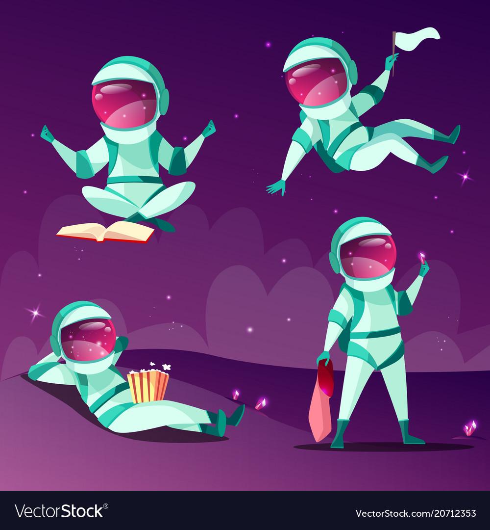 Astronauts in weightlessness zero gravity planet.