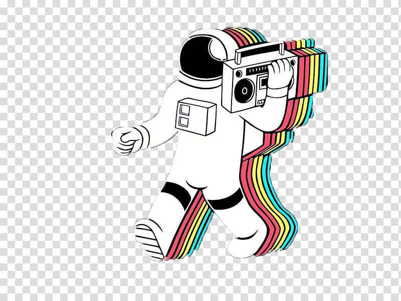Astronaut holding boombox art transparent background PNG.