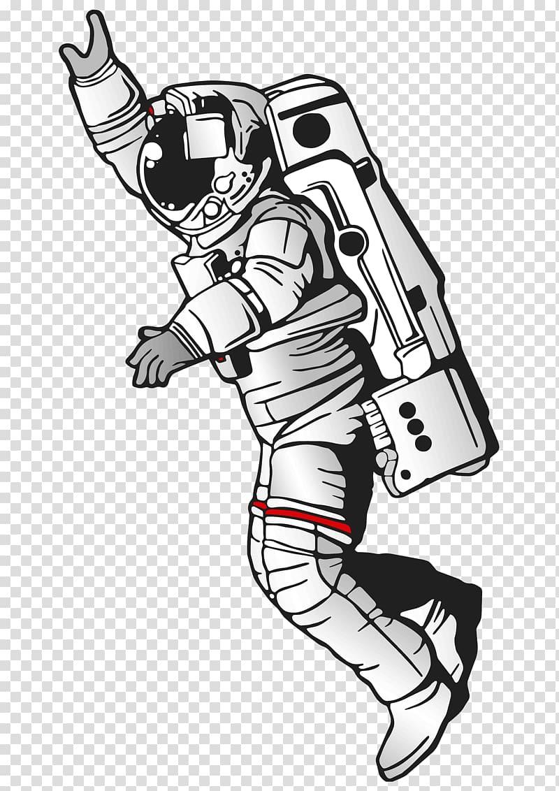 Astronaut illustration, Astronaut Drawing Art, spaceman.