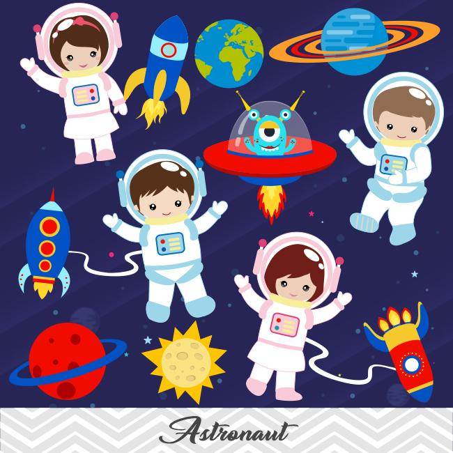 Astronaut Digital Clip Art, Space Clipart, Boys and Girls Astronaut  Clipart, 00246.