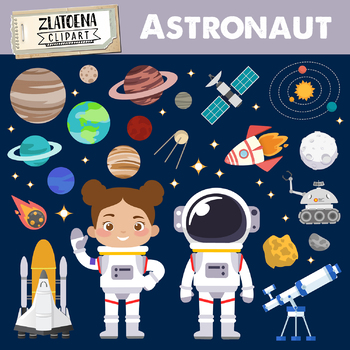 Astronaut clipart Outer Space graphics Rocket Ship clipart Galaxy Universe  Space.