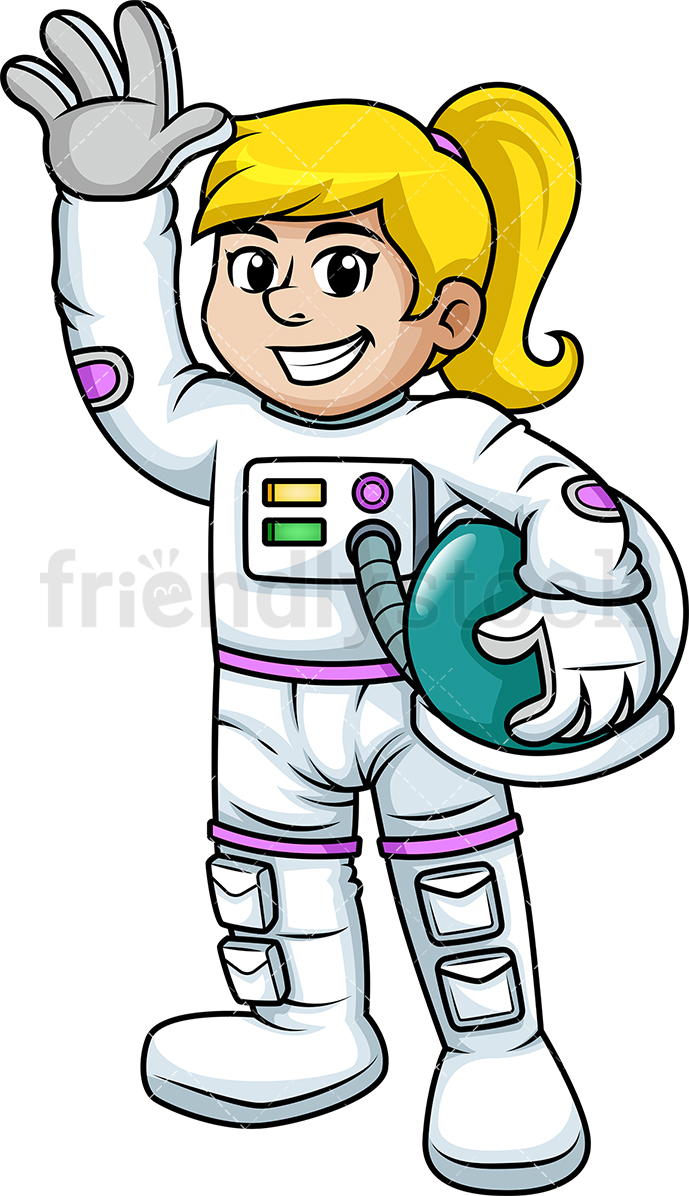 Cheerful Female Astronaut Waving.