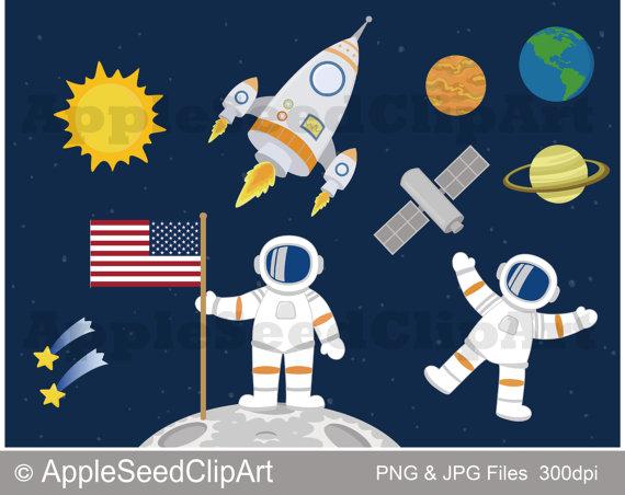 Outer Space Digital Clip Art, Astronaut Clip Art, Planets.