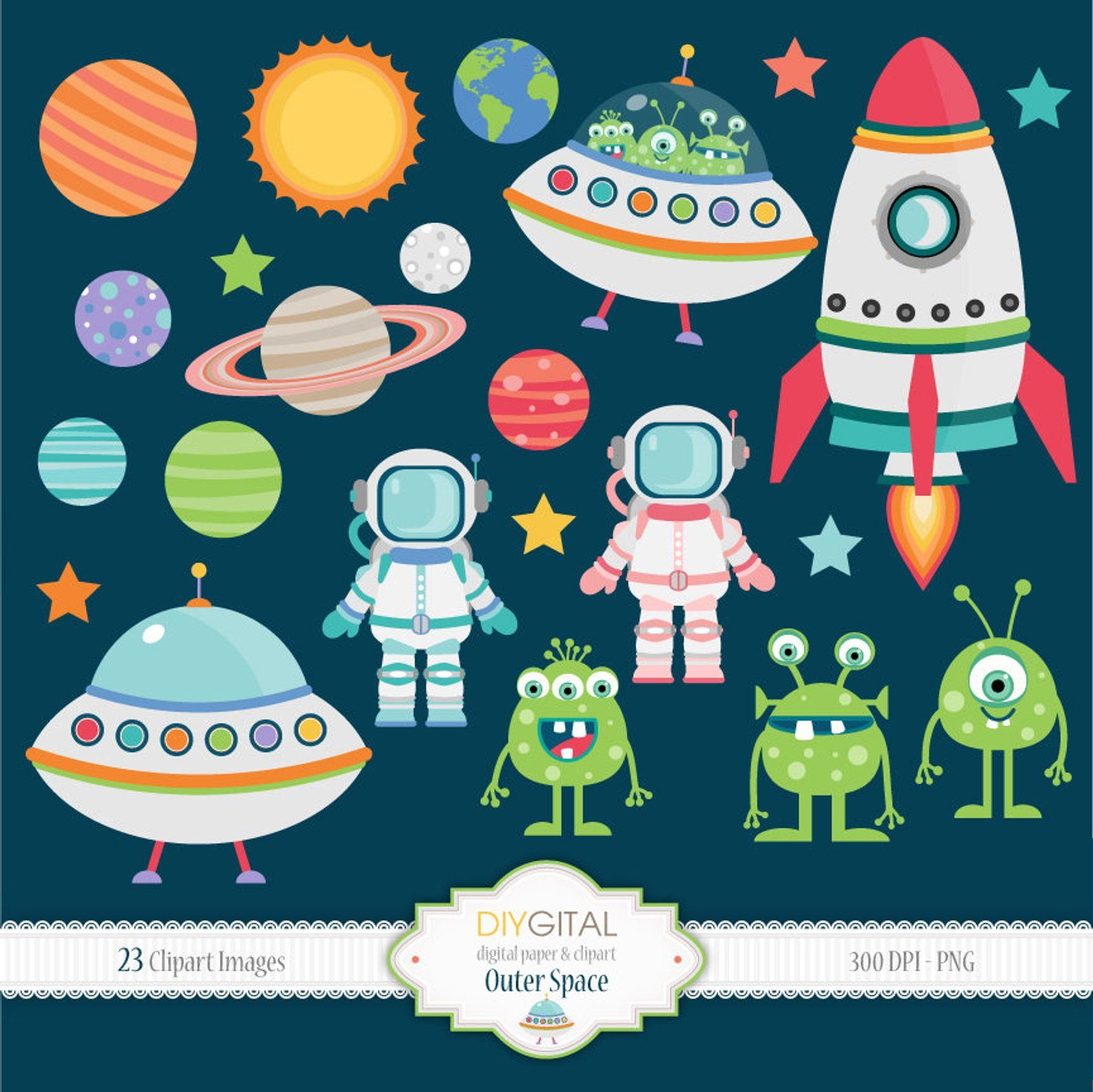 Outer Space Clipart Set, 23 PNG images, planets, rocket.