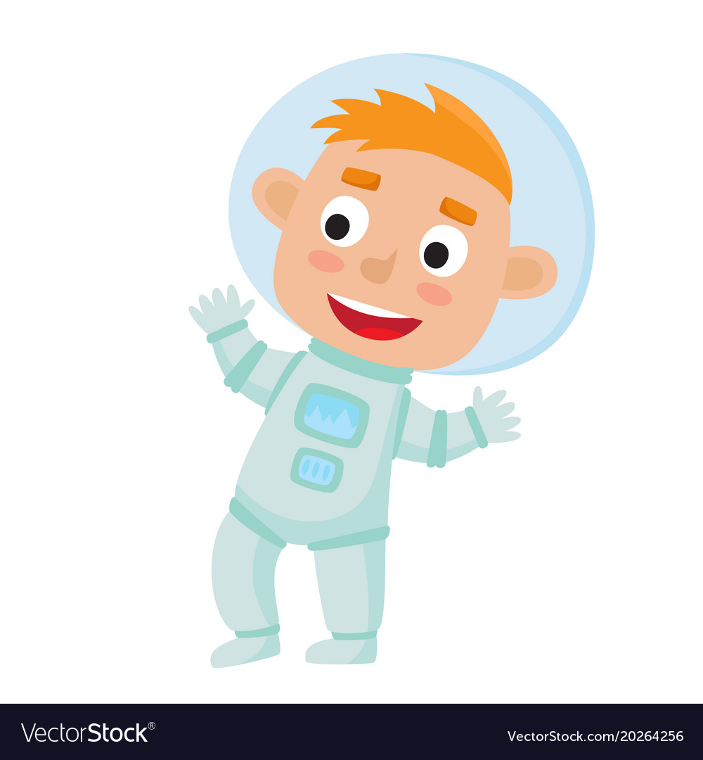 Standing astronaut kid isolated on white.
