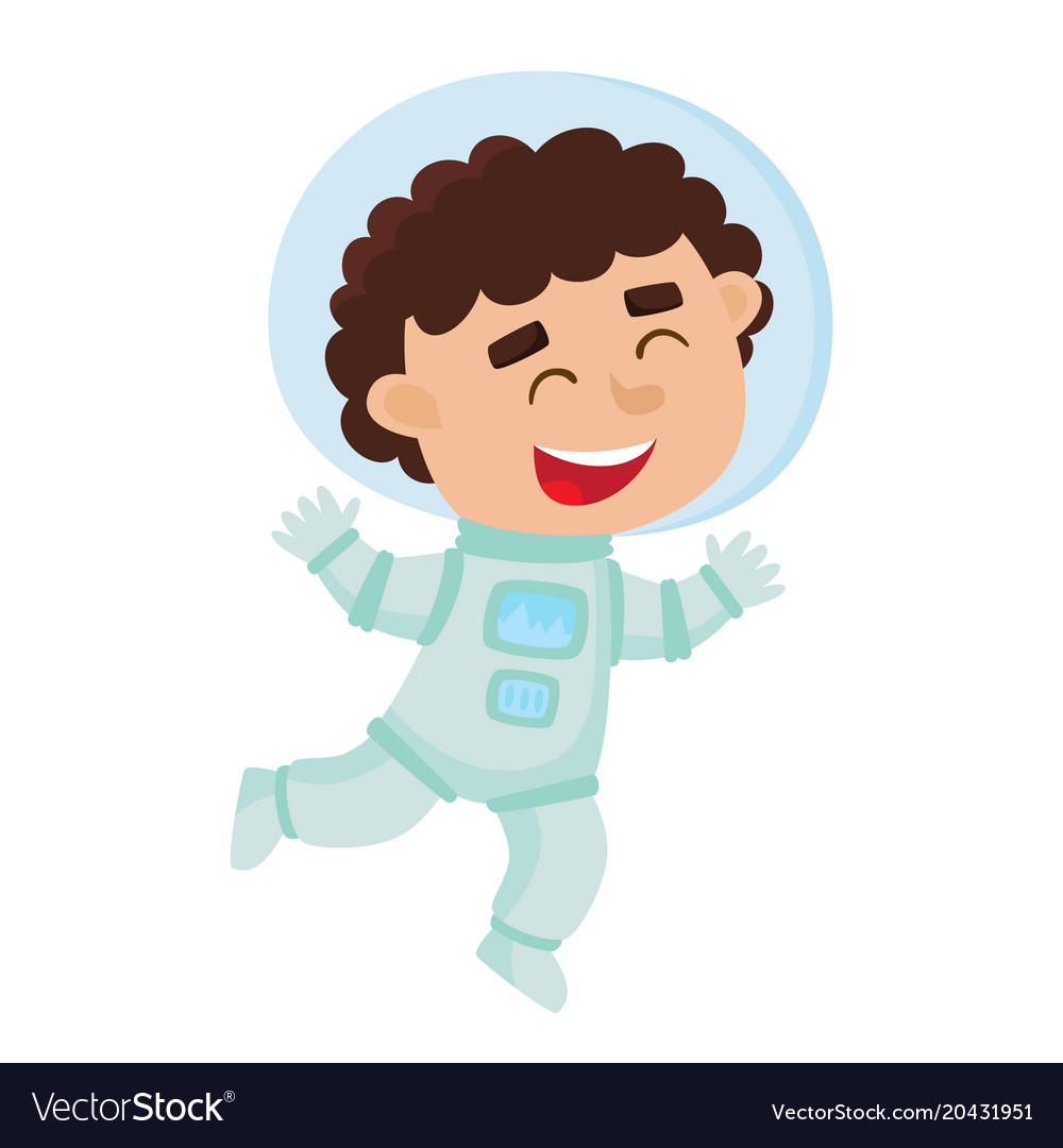 Flying astronaut kid isolated on white background.