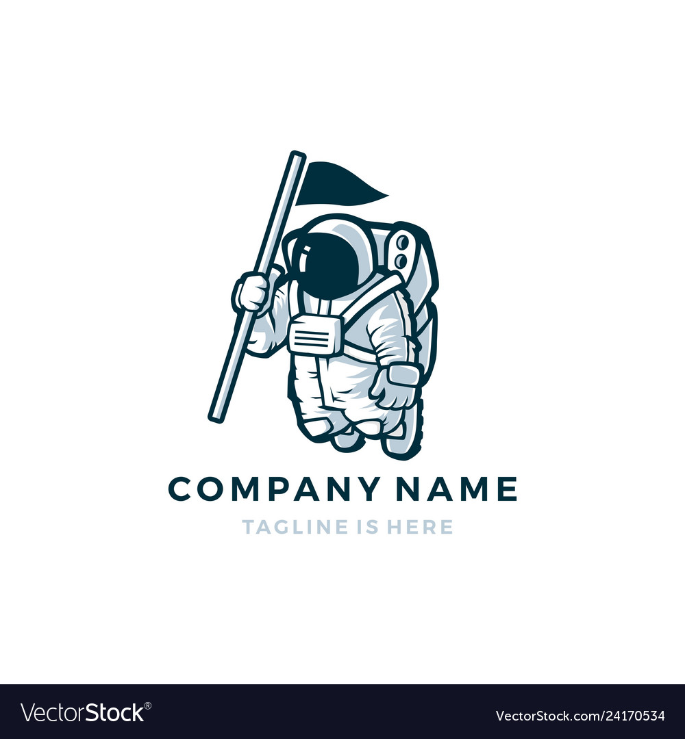 Astronaut with flag mascot character logo icon.