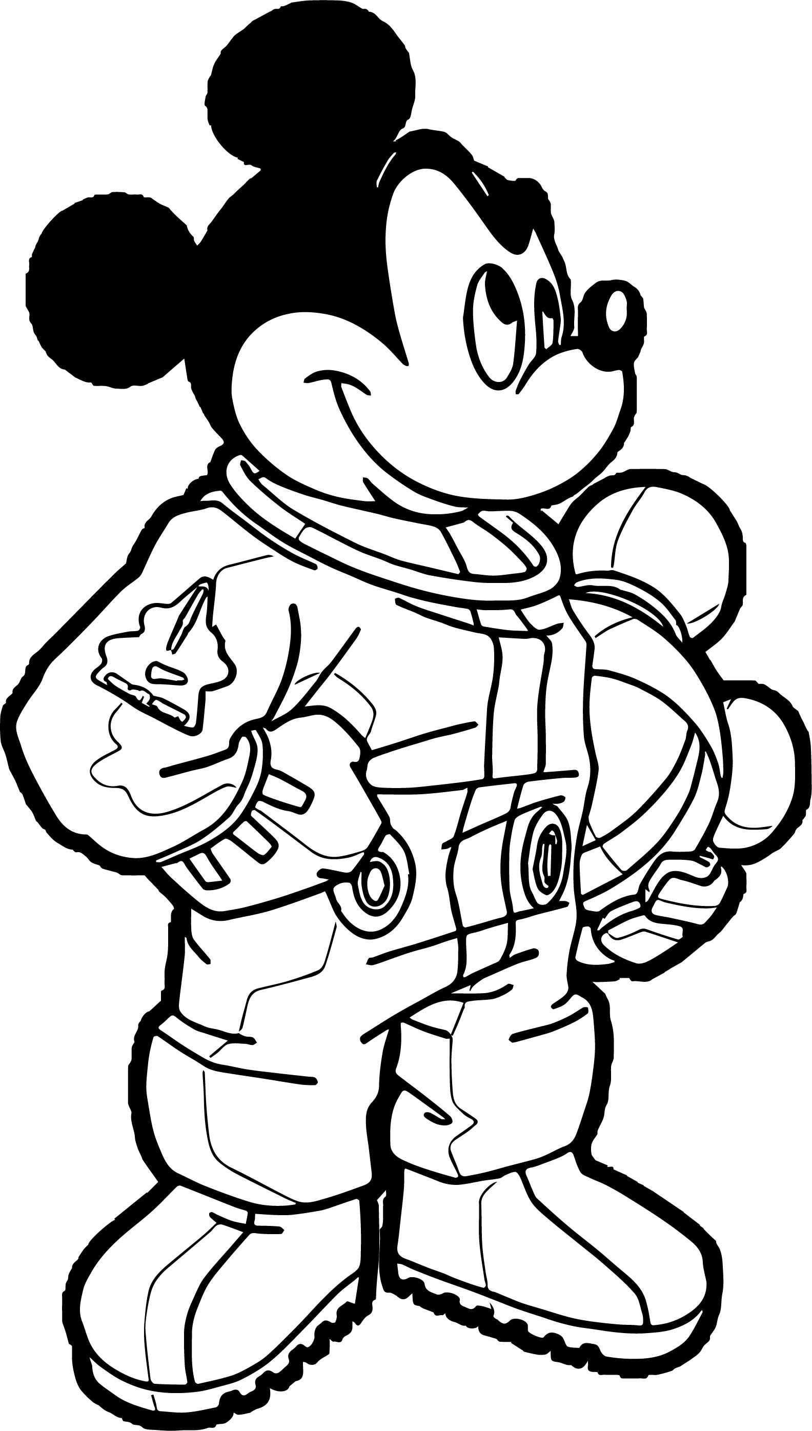 awesome Astronaut Mickey Mouse Coloring Page.