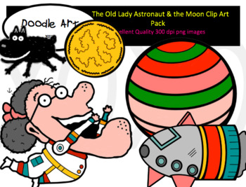 The Old Lady Astronaut and the Moon Clip Art Pack.