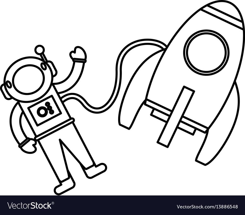 Astronaut rocket exploration outline.
