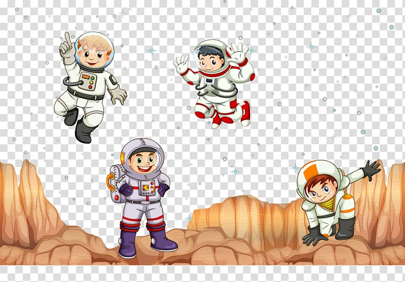 Outer space Astronaut, hand painted in space for kids.