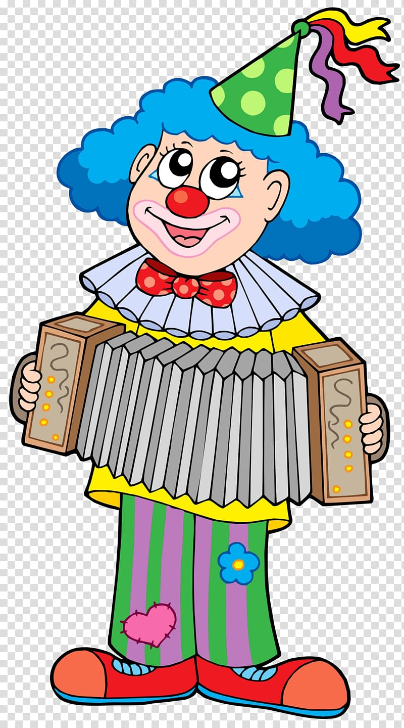Clown playing pump organ illustration, Clown illustration.