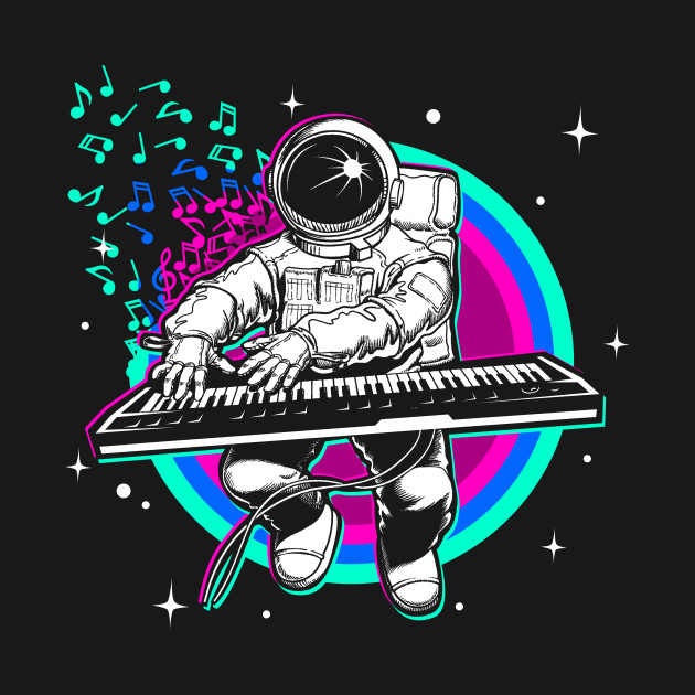 Astronaut playing piano synthesizer in space.