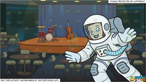 A Female Astronaut Smiles While Drifting In Space and A Jazz Club Stage  Background.