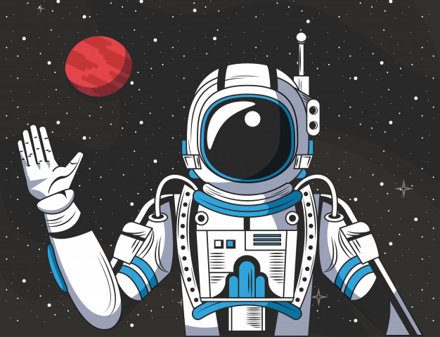 Astronaut in the space drawing cartoon Vector.