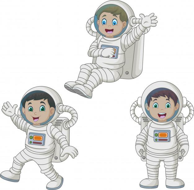 Cartoon happy kids wearing astronaut costumes Vector.