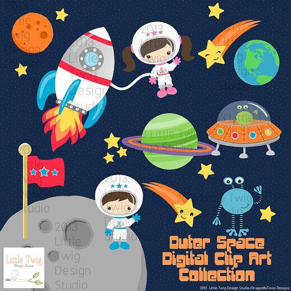 Outer Space Astronauts Kids, Children Digital Clipart, clip.