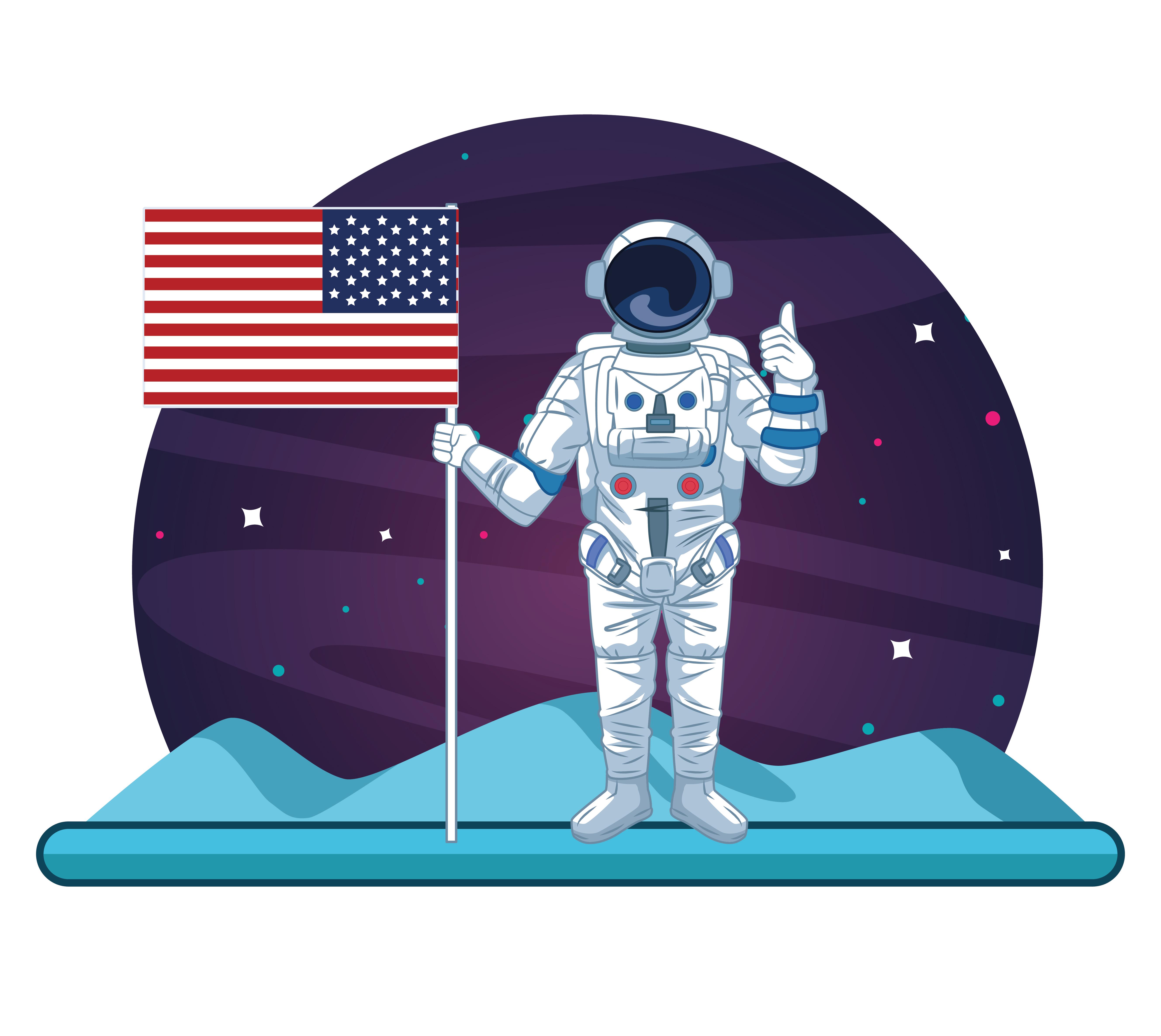Astronaut in the galaxy cartoon.