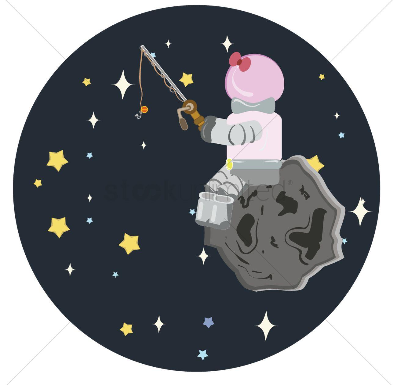 Fishing astronaut sitting on asteroid Vector Image.
