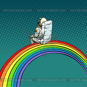 Astronaut sits on rainbow.