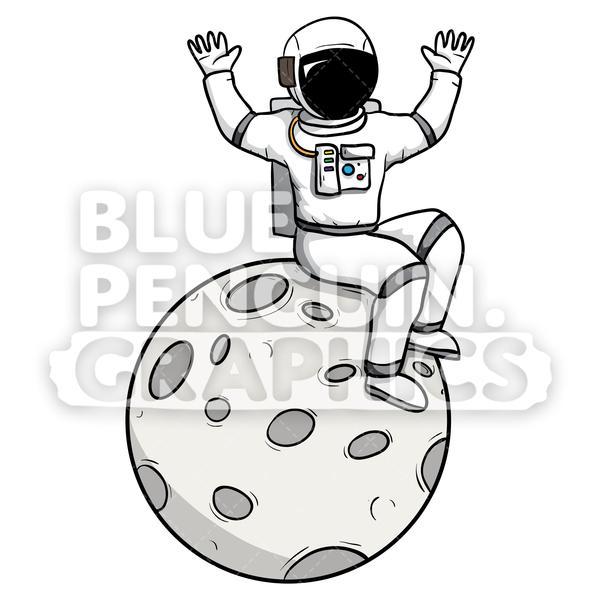 Astronaut Sitting on the Moon Vector Cartoon Clipart.