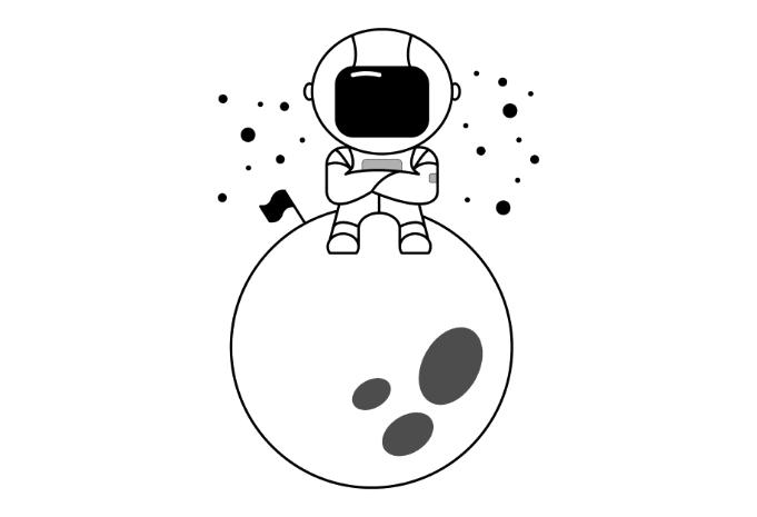 Astronaut sitting on a moon minimalistic vector t.