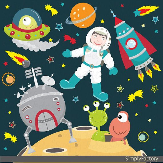 Outer Space Clipart, Space, Astronauts, Spaceships, Rockets.