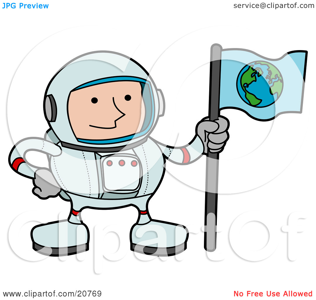 Clipart Illustration of a Male Astronaut In A Space Suit, Holding.