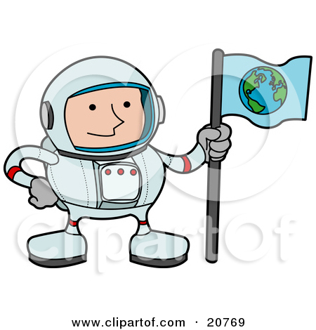 Clipart of a Happy White Male Astronaut in a Space Suit, Holding.