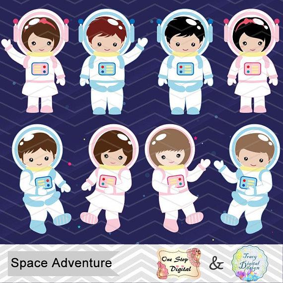 Digital Astronaut Clipart, Boy Astronaut Clip Art, Girl.