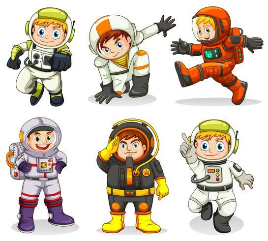 Set of astronaut character.