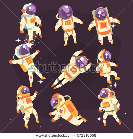 Astronaut In Space Suit Floating In Open Space In Different.