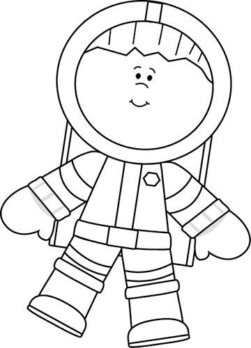 Black and White Boy Astronaut Floating.