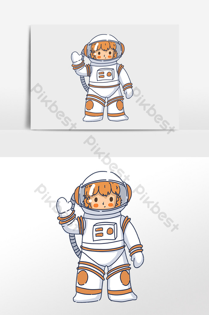 Hand drawn space aerospace technology astronaut illustration.