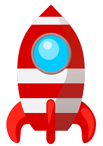Cartoon of a Waving Astronaut Boy Flying a Rocket.