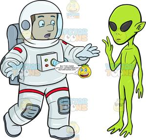 A Male Astronaut Shocked By A Waving Alien.