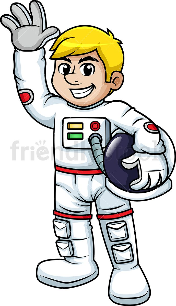 Smiling Male Astronaut Waving.