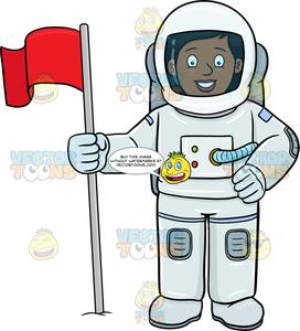 A Black Female Astronaut Smiles After Setting A Flag On A Foreign Surface.