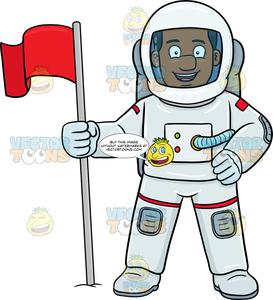 A Black Male Astronaut Smiles After Setting A Flag On A Foreign Surface.